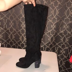Black over the knee boots with GLITTER HEELS